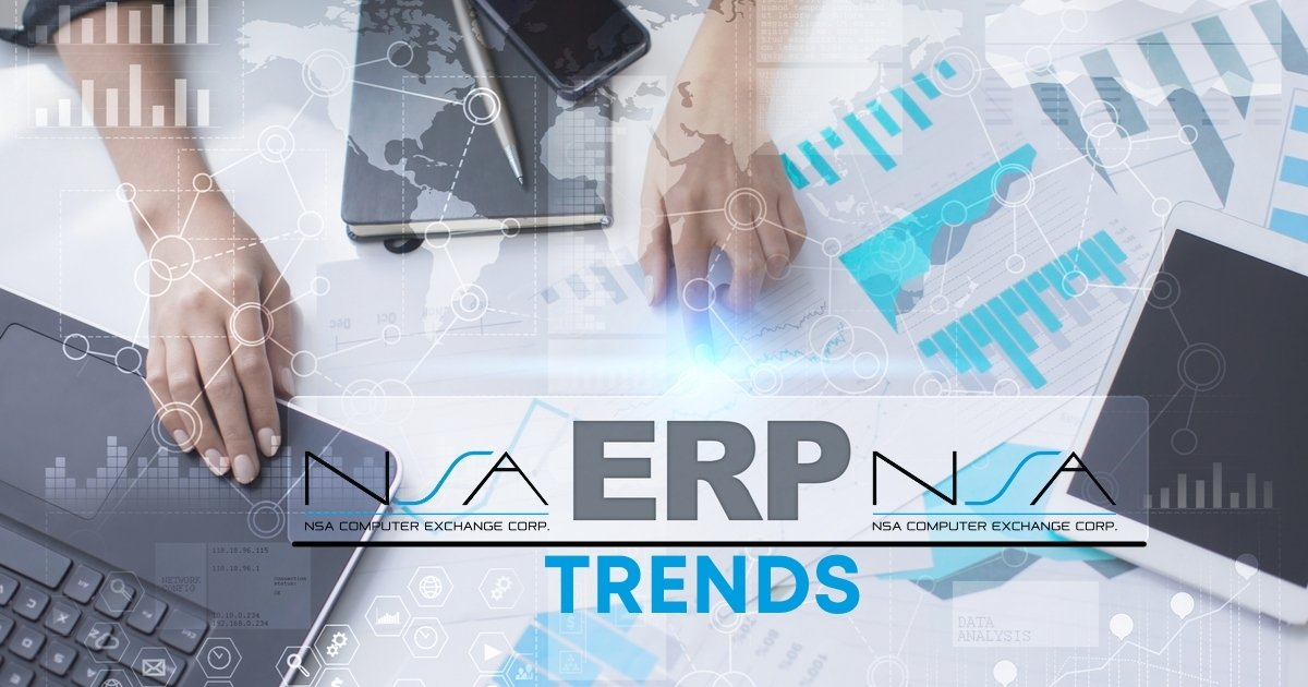 Computer and graph image with ERP Trends